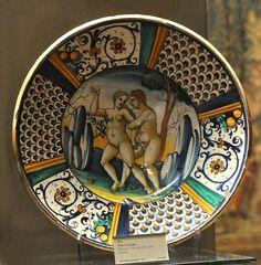 Majolique de Deruta Plat, scène érotique DERUTA, premier tiers du XVIe siècle