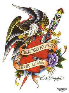 """Ed Hardy Eagle - Pierced Hearts & True Love Temporary Body Art Tattoos 3"""" x 4"""""""