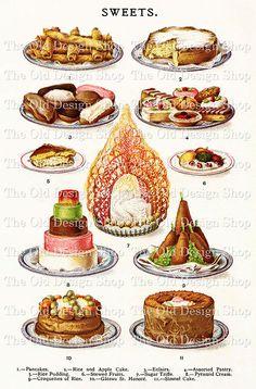 Mrs Beeton's Sweets Vintage Image Digital Download JPG Illustrated Cookbook Page