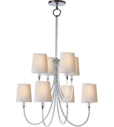 Visual Comfort Thomas OBrien Large Reed Chandelier in Polished Silver with Natural Paper Shades TOB5010PS-NP