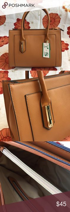 """Structured Tote with Shoulder Strap - Brown Structured Tote with Shoulder Strap - Brown  * 14W x 11H x 6D * Handles drop: 6"""" * Shoulder strap: 26"""" * Faux Leather Bags Totes"""