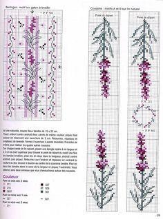 flower, violet, cross stitch pattern