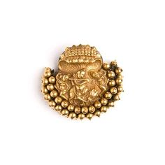 A gold repousse braid ornament depicting Lord Krishna playing a flute to his Gopis under the protection of the hooded Naga South India Century South Indian Jewellery, Indian Jewellery Design, Jewelry Design, India Jewelry, Temple Jewellery, Ethnic Jewelry, Jewelry Stores Near Me, Gold Earrings Designs, Selling Jewelry