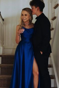 Elegant Long Prom Dress with Slit, 2020 Royal Blue Prom Dress Prom Pictures Couples, Prom Couples, Prom Photos, Cute Couples, Prom Pics, Teen Couples, Maternity Pictures, Cute Homecoming Pictures, Cute Prom Dresses