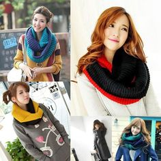 Women Fashion Winter Mixed Colors Knitted Scarf Pullover Warm Thick Neck Wrap #eozy