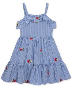 Rare Editions Pinstripe Floral-Embellished Dress, Little Girls, Created for Macy's Kids - Dresses - Macy's Little Girl Summer Dresses, Toddler Girl Dresses, Girls Dresses, Toddler Girls, Girls 4, Girls Frock Design, Baby Dress Design, Baby Frocks Designs, Kids Frocks Design