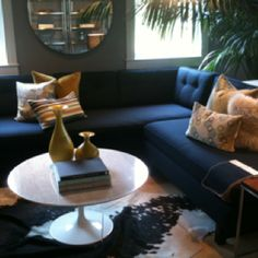 Room and Board mom Navy Sectional, Navy Couch, House Colors, Home Furniture, Family Room, Sweet Home, Loft, Colours, Bright