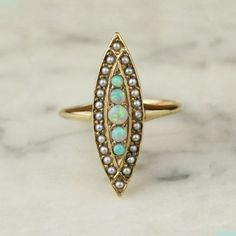 Victorian 14k Yellow Gold Opal and Seed Pearl by ArtifactVintage, $915.00
