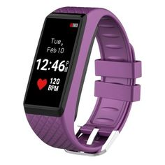 Bluetooth V40 Smart Bracelet Heart Rate Monitor Color OLED Touch Screen Sport Smart Wristband for iOS  Android Smart Phone Sedentary Reminder  Pedometer  Sleep Monitor Purple * Check out the image by visiting the affiliate link Amazon.com on image.