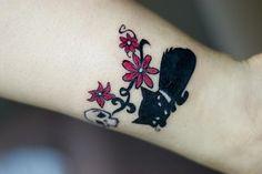 Skull and flowers design