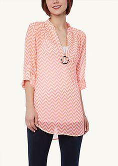 image of Chevron Mandarin Collar Tunic