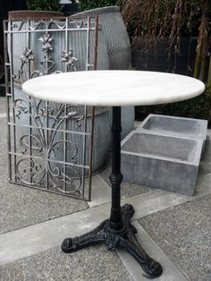 French Bistrot Table With Marble Top C 1940 Amongst A Grey Palette Of Zinc Bistro