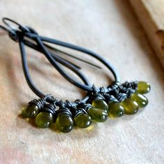 Vesuvianite gemstone earrings sterling silver and by noblegnome