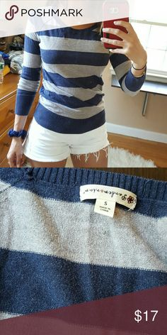 Navy & grey scoop neck sweater Navy and grey. Tighter fit at bottom. 3/4 sleeve. Size small Sweaters Cowl & Turtlenecks