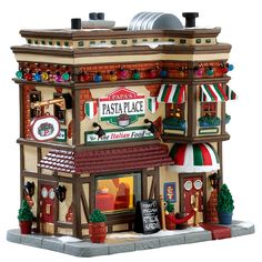 Lemax Village Collection Papa's Pasta Place Everyone loves to eat Italian! Papa's Pasta Place is the finest Italian food in Caddington Village. Fresh pasta is made daily and served all day long. Looks like Fettuccine Alfredo is Papa's special today! Village Lemax, Lemax Christmas Village, Christmas Store, Christmas Villages, Christmas Houses, Christmas Trees, Village Miniature, Miniature Figurines, Villas