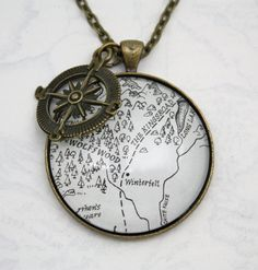 Game of Thrones 'Winterfell' Map Book Page Large Necklace
