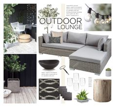 """Outdoor Lounge"" by bellamarie ❤ liked on Polyvore featuring interior, interiors, interior design, ev, home decor, interior decorating, Crate and Barrel, Dash & Albert, Restoration Hardware ve Dot & Bo"