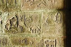 """Carvings covering the walls of the keep of Carlisle Castle (Cumbria, UK), thought to date from the end of the 15th century. Dr Mark Douglas, Properties Curator at English Heritage said: """"Our latest research suggests that these intricate and beautiful carvings were more likely to have been made by soldiers [rather than prisoners] on duty at the end of the 15th century."""