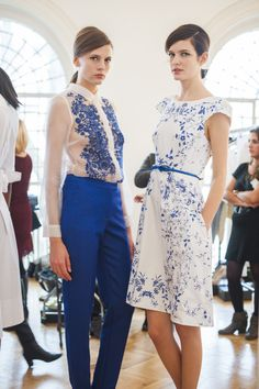 2 of our models wearing the colour of the season; China Blue from Hobbs Invitation