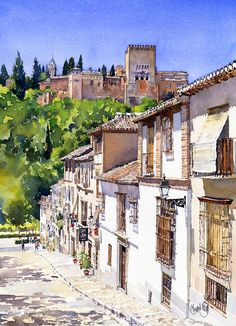 The Alhambra From Calle Victoria Art Print by Margaret Merry Watercolor Pictures, Watercolor Sketch, Watercolor Paintings, Watercolours, Watercolor Architecture, Watercolor Landscape, Victoria Art, Building Painting, Urban Sketching