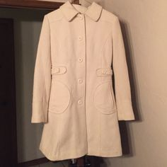 """Cream Peacoat Perfect condition. Worn once. Bought from Nordstrom--random brand called """"Maralyn and Me"""" size small. No stains, rips, etc. I think I would consider the material to be tweed? Silk on inside, very cozy. Maralyn & Me Jackets & Coats Pea Coats"""