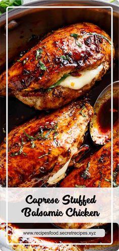 Caprese Stuffed Balsamic Chicken - New Site Caprese Stuffed Balsamic Chicken Recipe, Balsamic Chicken Recipes, Caprese Chicken, Healthy Chicken Recipes, Cooking Recipes, Meat Recipes, Recipies, Dinner Recipes, Buffalo Chicken