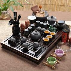 Ufingo-Wood Tea Tray Ceramic Kung Fu Tea Set Tea Service-White And Black / Project Fellowship