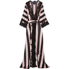 Rosamosario Amori Imprigionati lace-trimmed striped silk-satin robe ($1,085) ❤ liked on Polyvore featuring intimates, robes, black, kimono bathrobe, rosamosario, kimono dressing gown, kimono robe and silk satin robe