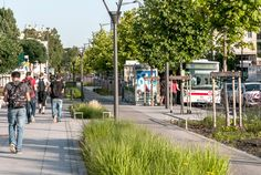 Sidewalk with bioswale in the Mermoz sector of Lyon, France by Gautier+Conquer Architectes. Click image for full profile & visit the slowottawa.ca boards >> http://www.pinterest.com/slowottawa/