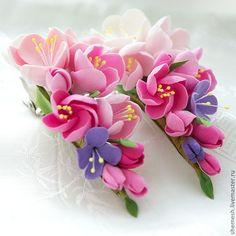 Купить Зажим для волос с цветами яблони - заколка-зажим, зажим для волос, яблоня, розовый