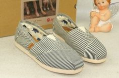 Toms Campus Girl Black Stripe Comfortable