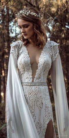 galia lahav gala 4 2018 bridal cap sleeves deep v neck full embellishment elegant sexy side slit sheath wedding dress sweep train (906) zv -- Gala by Galia Lahav 2018 Wedding Dresses