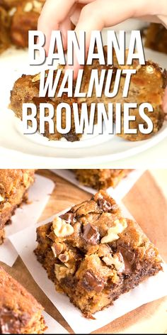These Banana Walnut Brownies are moist fudgy and delicious They are very easy to make great for a last minute dessert that everyone will love glutenfree paleo grainfree healthy dessert treat sweets brownies # Köstliche Desserts, Healthy Dessert Recipes, Healthy Baking, Gourmet Recipes, Easy Delicious Desserts, Kosher Desserts, Paleo Appetizers, Delicious Cupcakes, Recipes Dinner