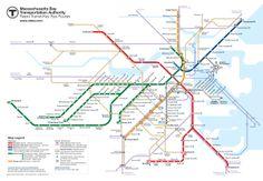 Fellow Oregonian, Cameron Booth, re-designs the Boston MBTA map.