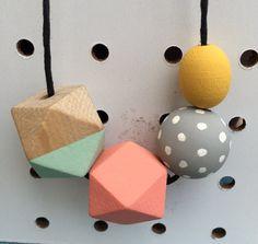 grab bag wooden bead necklace  geometric pastel polka dot