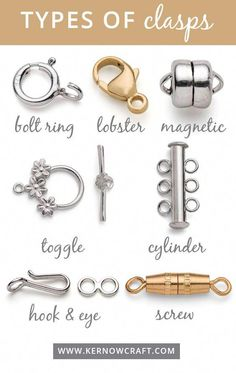 Types Of Clasps For Jewellery Making Jewellery clasps come in all shapes and sizes! Check out our best sellers and find them all online including bolt rings, lobster clasps, magnetic clasps, toggle cl Jewelry Clasps, Jewelry Tools, Bead Jewellery, Beaded Jewelry, Beaded Bracelets, Jewellery Making, Beaded Earrings, Jewelry Ideas, Clasps For Bracelets