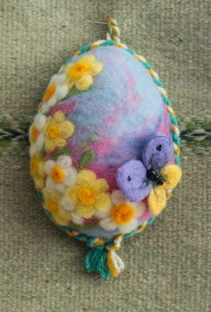 Needle felting white easter egg purple with narcissus by ElisCraft, $18.00
