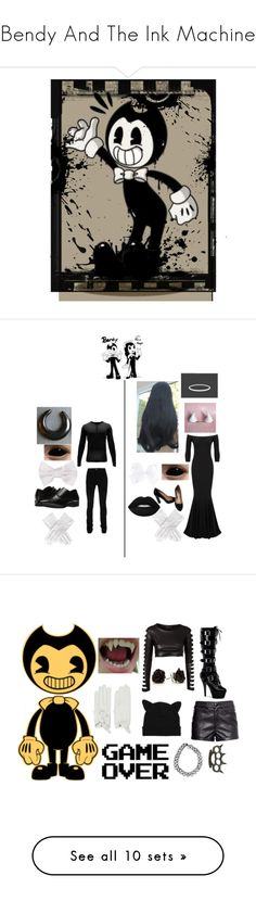 """""""Bendy And The Ink Machine"""" by dappershadow ❤ liked on Polyvore featuring art, Hot Topic, H&M, WALL, JFR, Club L, Causse, Pleaser, KAOS and Lands' End"""