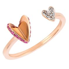 RUIFIER - Flutter Heart Ring - An rose gold ring holds blue topaz and pink sapphire encrusted hearts. A bejeweled heart of gold is the best one of all. Heart Jewelry, Gold Jewelry, Heart Ring, Fine Jewelry, Women Jewelry, Jewellery, Topaz Jewelry, Jewelry Rings, Jewelry Making