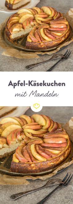 Keine Sahnetorte, macht aber genauso Eindruck beim Kaffeeklatsch. Ein Herbstkuchen mit Äpfeln und Mandeln, der für Glücksgefühle am Gaumen sorgt.
