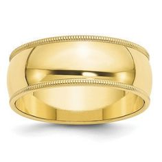 8MM Half Round With Milgrain Edge Wedding Band In 10K Yellow Gold Gemologica.com offers a large selection of wedding bands in 10K and 14K yellow and white gold for men and women. We have styles including comfort fit, half round edges, flat edges, flat comfort fit, flat step down edge, half round with milgrain, plain, classic, antique style and bevel edge. Our complete collection of gold wedding rings jewelry: www.gemologica.com/mens-gold-wedding-bands-c-28_46_316_320.html
