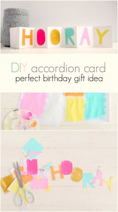 DIY paper accordion card idea. Love this easy watercolor card tutorial, the cutest idea for a sweet birthday gift. Handmade birthday gifts are the best!