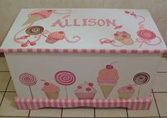CUSTOM toy chest, designed by your wallpaper border, your picture etc Painted Wooden Boxes, Painted Chairs, Hand Painted Furniture, Funky Furniture, Paint Furniture, Kids Furniture, Girls Toy Box, Wooden Toy Chest, Diy And Crafts