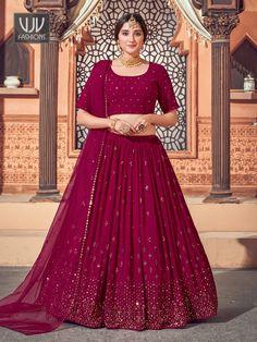 Rs4,100.00 Georgette Fabric, Bridal Lehenga Online, Indian Wedding Outfits, Indian Outfits, Party Wear Lehenga, Saree Shopping, Lehenga Choli, Magenta