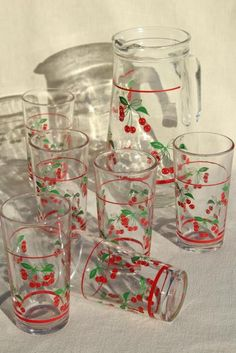red cherry print glass pitcher & drinking glasses, vintage glassware set made in Italy Vintage Dishes, Vintage Glassware, Glass Pitchers, Kitchen Themes, Tablewares, Kitchen Linens, Kitchenware, Tumblers, Juice