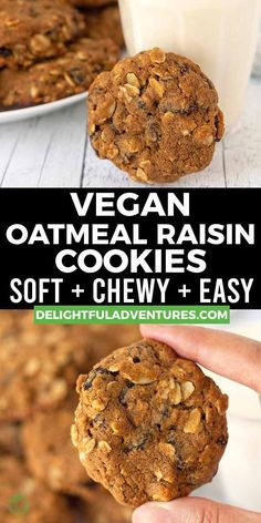Quick and easy vegan oatmeal raisin cookies made with oat flour! These cookies turn out soft, chewy, and irresistible, plus, since they're vegan, they're eggless, dairy-free…gluten-free, too! They're simple to make and you can have them ready to enjoy in under 30-minutes. Vegan Oatmeal Raisin Cookies, Easy Vegan Cookies, Vegan Gluten Free Cookies, Vegan Chocolate Chip Cookies, Vegan Treats, Vegan Snacks, Snack Recipes, Vegan Recipes Beginner, Free Recipes