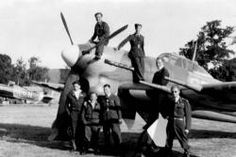 'B' Flight Hawker Typhoon, F/O Richard 'Ricky' Dupré, James 'Don' Inches DFC, Burton 'Pancho' Pagnam etc / F/O Richard 'Ricky' Dupre, Standing L-R: W/O George Martin DFC, S/Ldr ? 'Pancho' Villa (198 Squadron) P/O McLaughlin (seated 2nd from right)