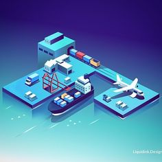 from - Illustrations for a supply chain management platform connecting sea air road and rail freight management seamlessly. Isometric Art, Isometric Design, Web Design, Grid Design, Flat Design, House Illustration, Graphic Design Illustration, Vector Illustrations, Corporate Website Design