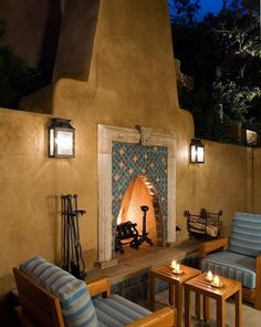 A fireplace is a great addition to any porch even if you live in a milder climate! The warm orange glow adds a nice ambiance to the space.