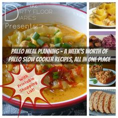 A week's worth of Paleo Crock Pot Meals, with a printable shopping list!